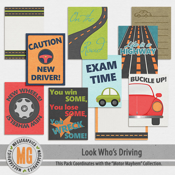 Look Who's Driving Journal Cards Digital Art - Digital Scrapbooking Kits