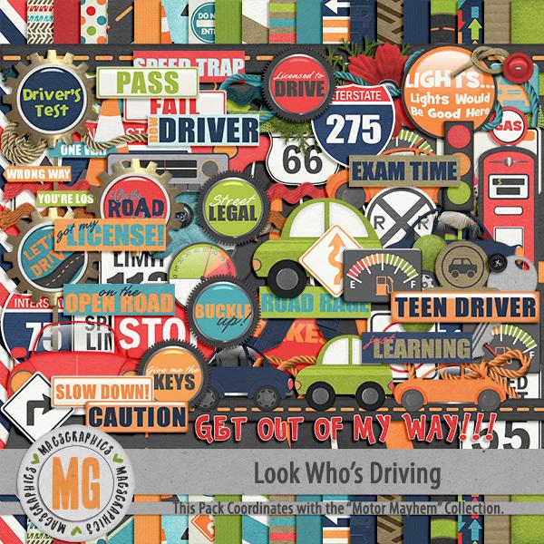 Look Who's Driving Kit Digital Art - Digital Scrapbooking Kits