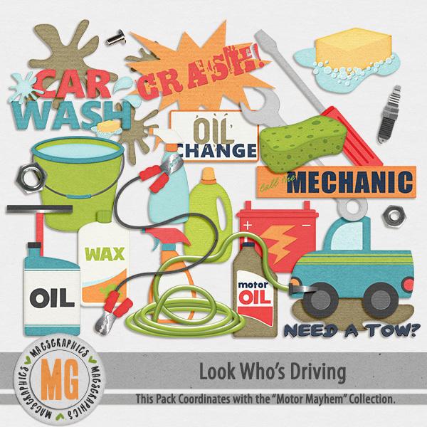 Look Who's Driving Mechanic Pack Digital Art - Digital Scrapbooking Kits