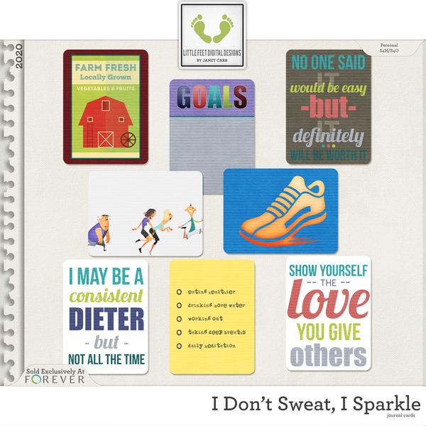 I Don't Sweat I Sparkle Journal Cards Digital Art - Digital Scrapbooking Kits