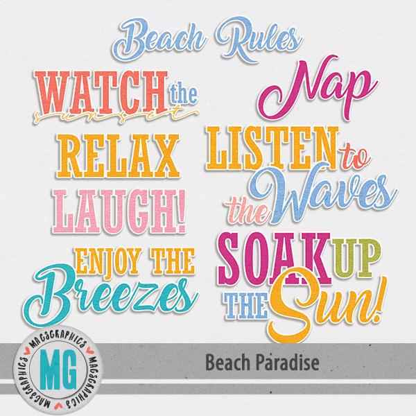Beach Paradise Word Art Digital Art - Digital Scrapbooking Kits