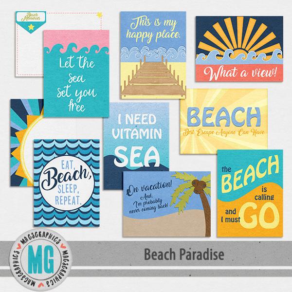Beach Paradise Journal Cards Digital Art - Digital Scrapbooking Kits