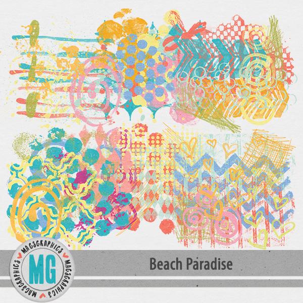 Beach Paradise Hodge Podge Digital Art - Digital Scrapbooking Kits