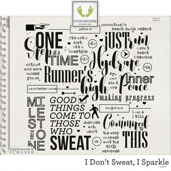 I Don't Sweat I Sparkle Word Art Digital Art - Digital Scrapbooking Kits