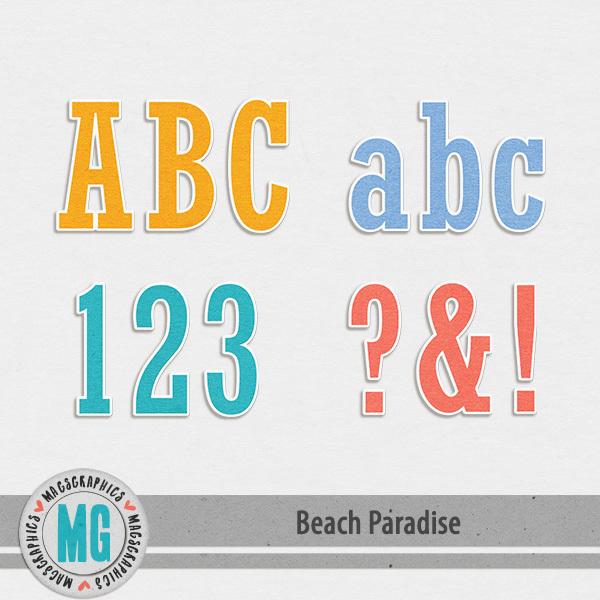 Beach Paradise Alpha Digital Art - Digital Scrapbooking Kits