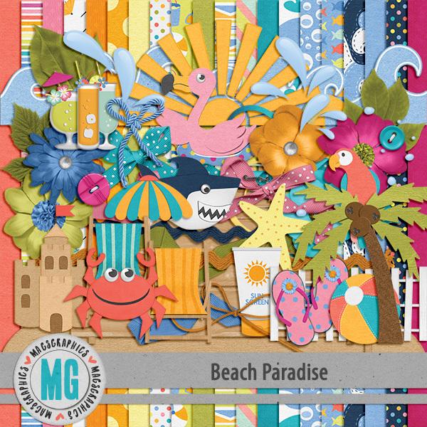 Beach Paradise Kit Digital Art - Digital Scrapbooking Kits