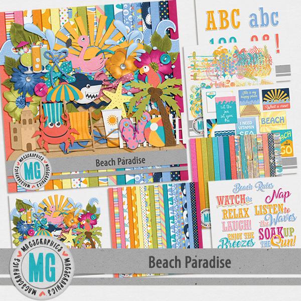 Beach Paradise Bundle Digital Art - Digital Scrapbooking Kits