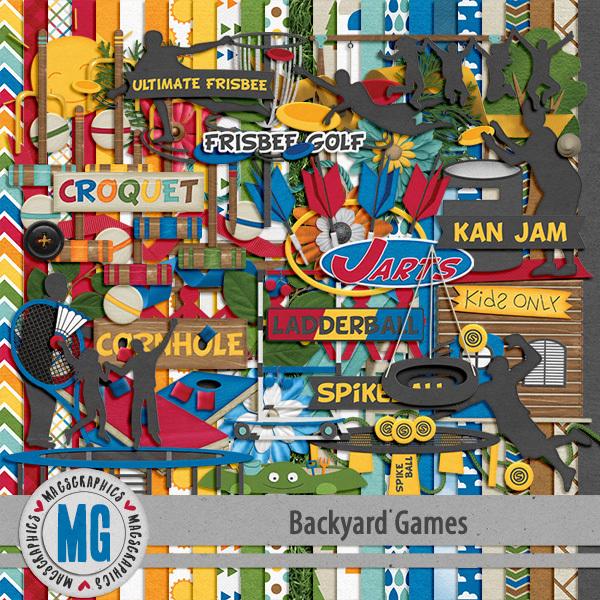 Backyard Games Kit Digital Art - Digital Scrapbooking Kits