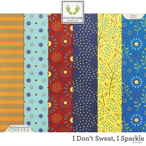 I Don't Sweat I Sparkle Bonus Papers Digital Art - Digital Scrapbooking Kits