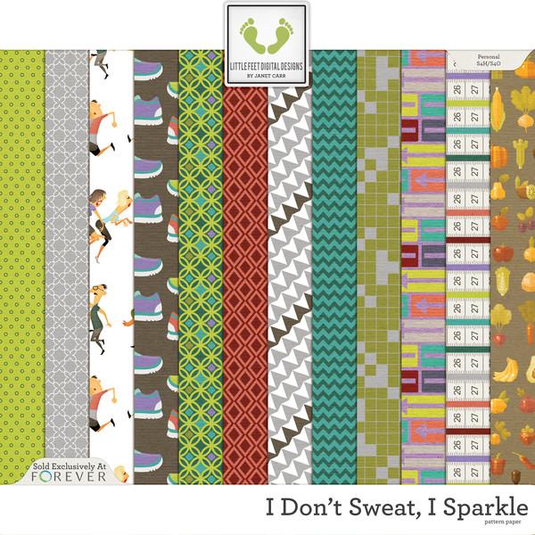 I Don't Sweat I Sparkle Pattern Papers Digital Art - Digital Scrapbooking Kits