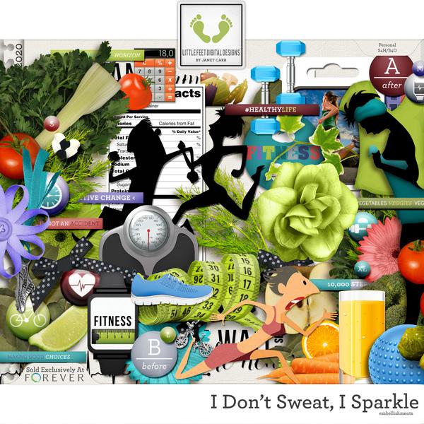 I Don't Sweat I Sparkle Embellishments Digital Art - Digital Scrapbooking Kits