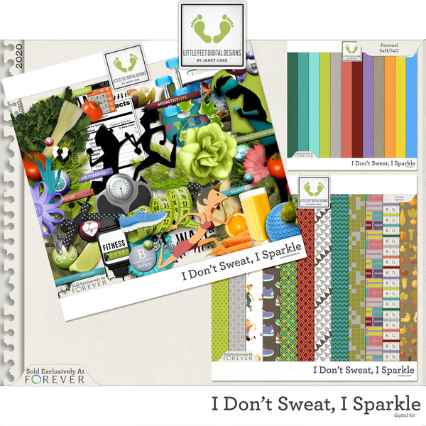 I Don't Sweat I Sparkle Digital Kit Digital Art - Digital Scrapbooking Kits