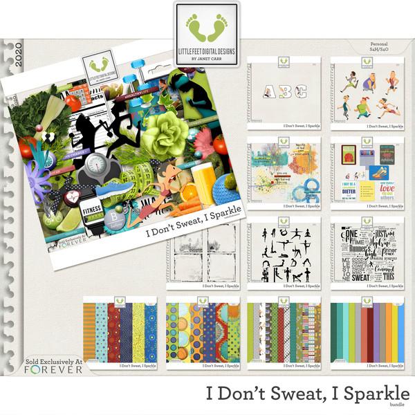 I Don't Sweat I Sparkle Bundle Digital Art - Digital Scrapbooking Kits
