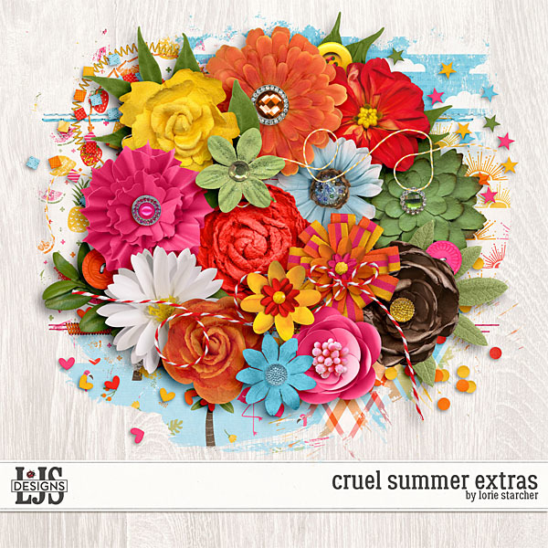 Cruel Summer Extras Digital Art - Digital Scrapbooking Kits