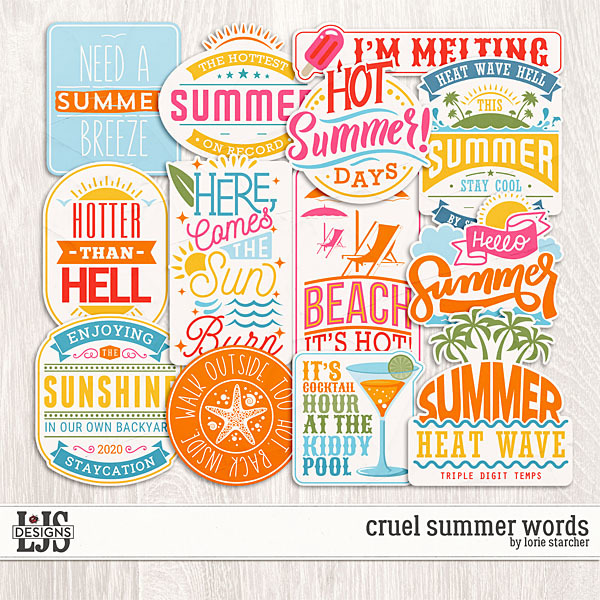 Cruel Summer Words Digital Art - Digital Scrapbooking Kits