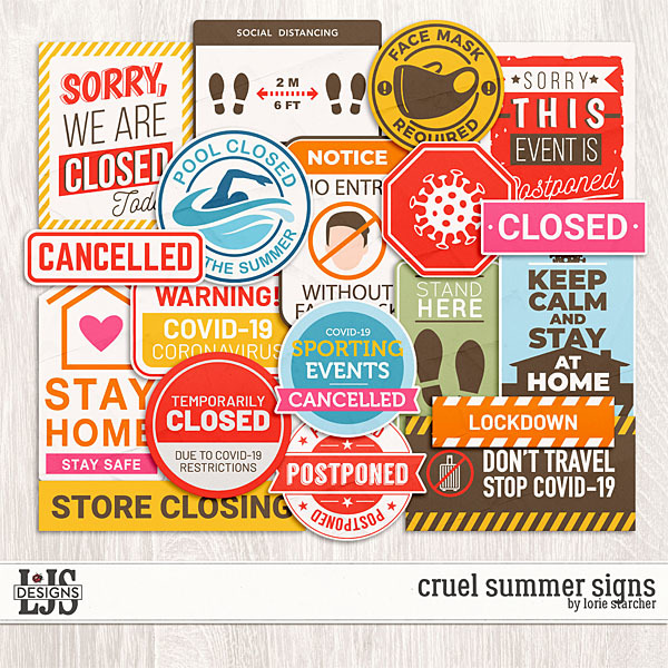 Cruel Summer Signs Digital Art - Digital Scrapbooking Kits