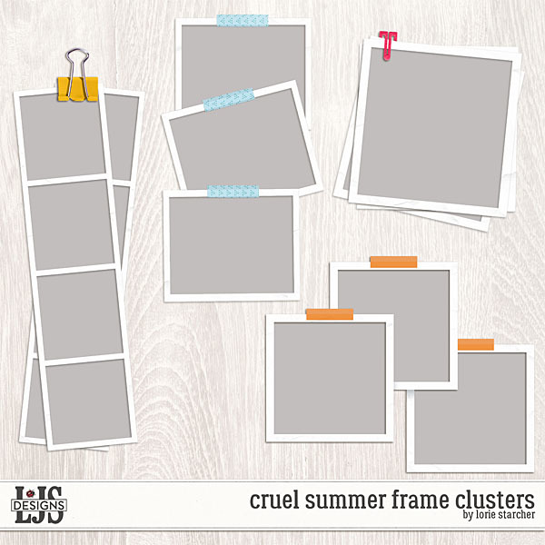 Cruel Summer Frame Clusters Digital Art - Digital Scrapbooking Kits