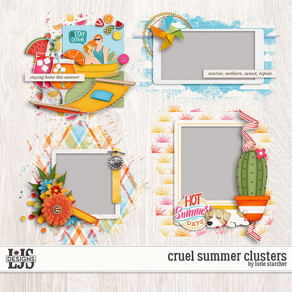 Cruel Summer Clusters Digital Art - Digital Scrapbooking Kits
