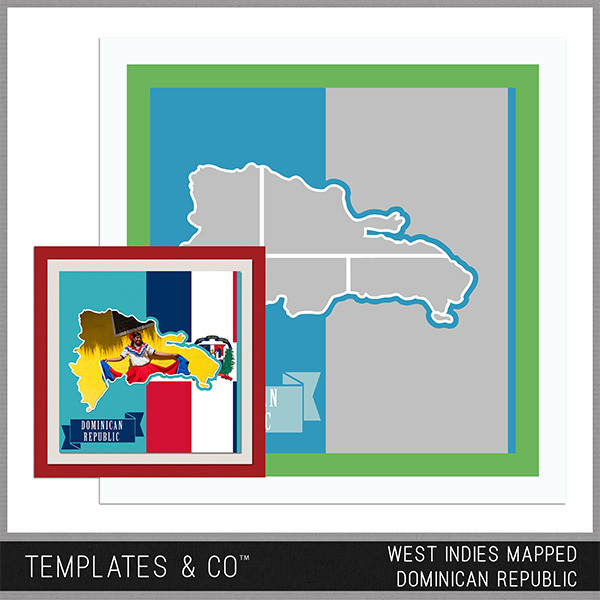 West Indies Mapped - Dominican Republic Digital Art - Digital Scrapbooking Kits