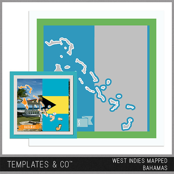 West Indies Mapped - Bahamas Digital Art - Digital Scrapbooking Kits