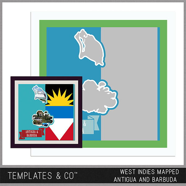 West Indies Mapped - Antigua and Barbuda Digital Art - Digital Scrapbooking Kits