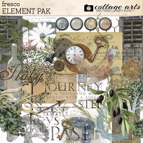 Fresco Element Pak Digital Art - Digital Scrapbooking Kits