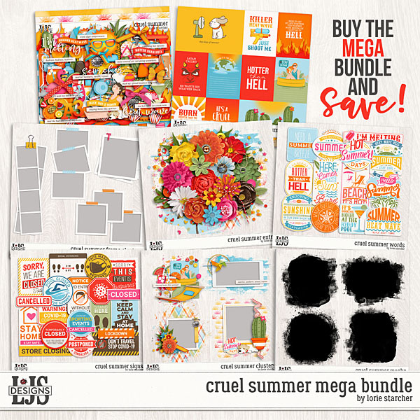 Cruel Summer Mega Bundle Digital Art - Digital Scrapbooking Kits