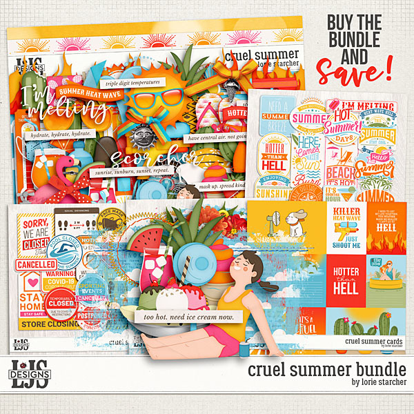 Cruel Summer Bundle Digital Art - Digital Scrapbooking Kits