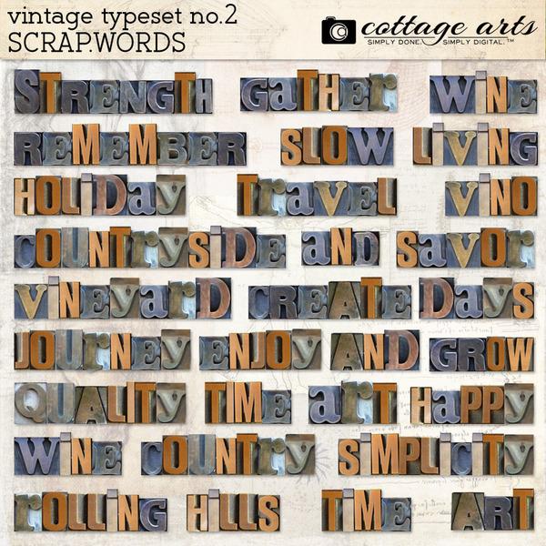 Vintage Typeset 2 Scrap.Words Digital Art - Digital Scrapbooking Kits