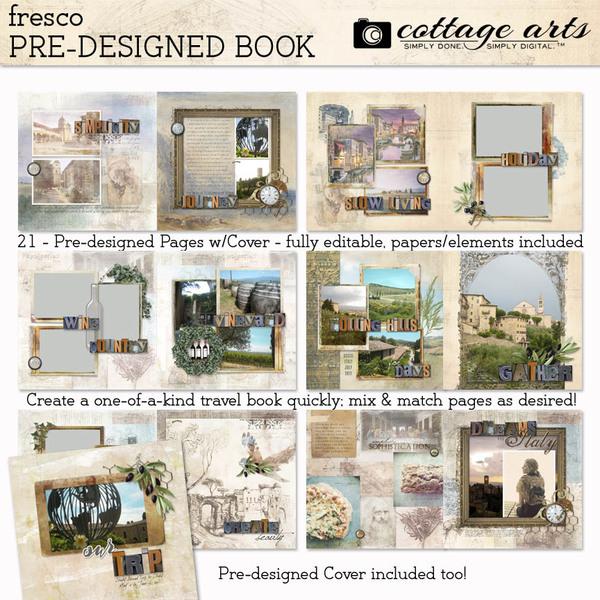 Fresco Pre-designed Book Digital Art - Digital Scrapbooking Kits