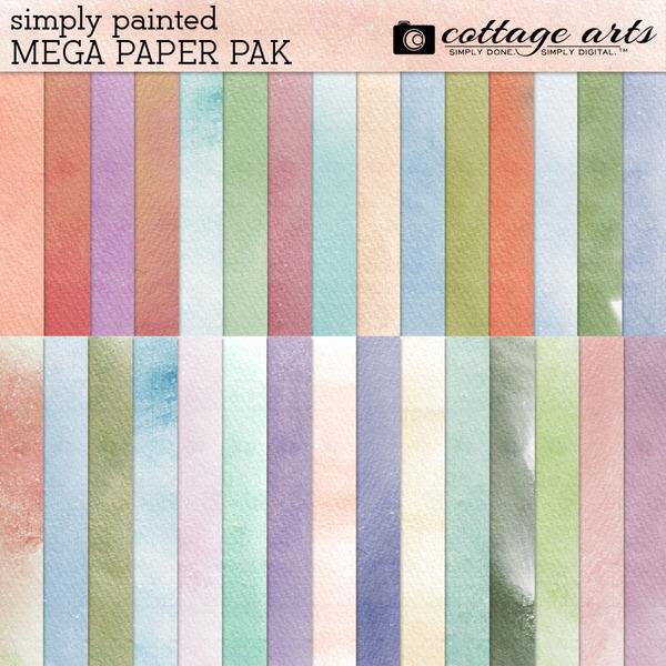 Simply Painted Mega Paper Pak Digital Art - Digital Scrapbooking Kits