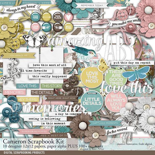 Cameron Scrapbook Kit Digital Art - Digital Scrapbooking Kits