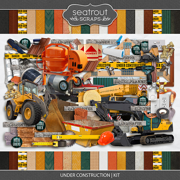 Under Construction - Kit Digital Art - Digital Scrapbooking Kits
