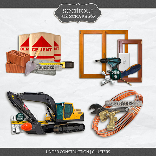 Under Construction - Clusters Digital Art - Digital Scrapbooking Kits