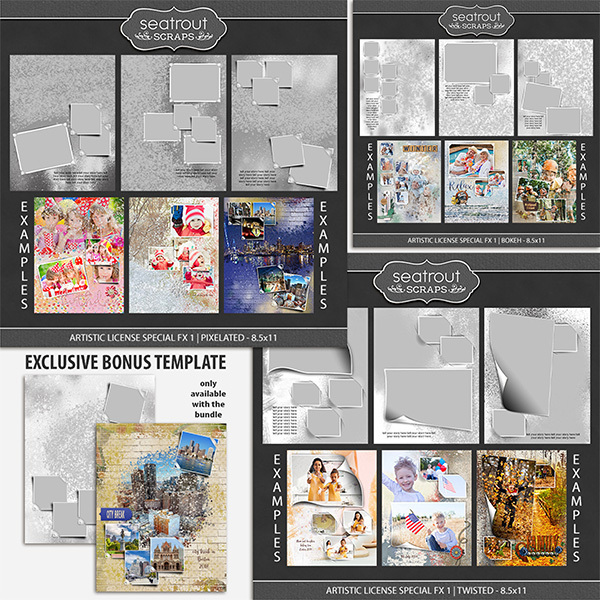 Artistic License Special FX Bonus Bundle 1 - 8.5x11 Digital Art - Digital Scrapbooking Kits