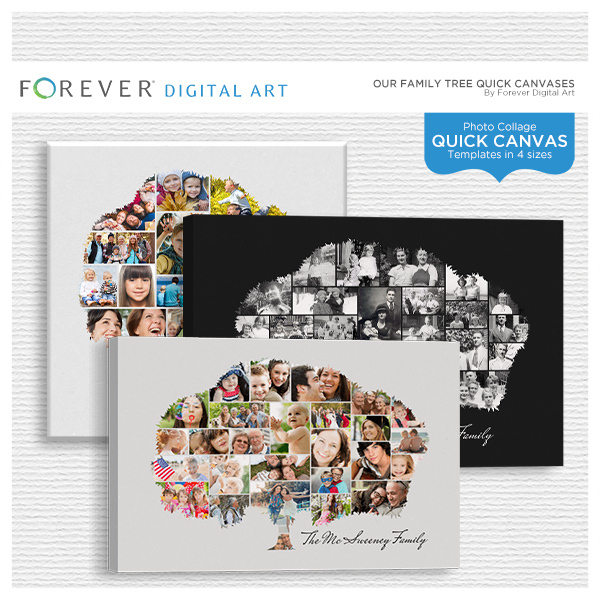 Our Family Tree Quick Canvases Digital Art - Digital Scrapbooking Kits