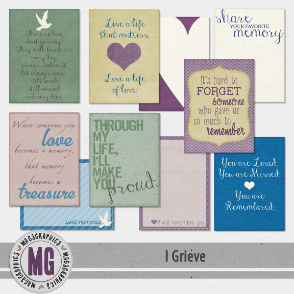 I Grieve Journal Cards Digital Art - Digital Scrapbooking Kits