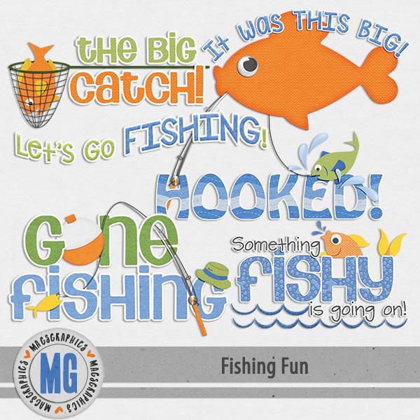 Fishing Fun Word Art Digital Art - Digital Scrapbooking Kits