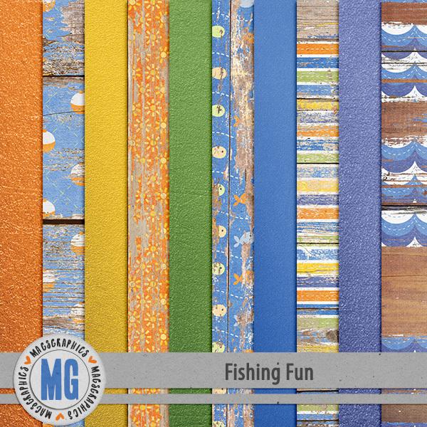 Fishing Fun Specialty Papers Digital Art - Digital Scrapbooking Kits