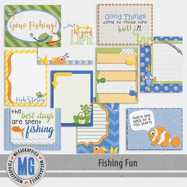 Fishing Fun Journal Cards Digital Art - Digital Scrapbooking Kits