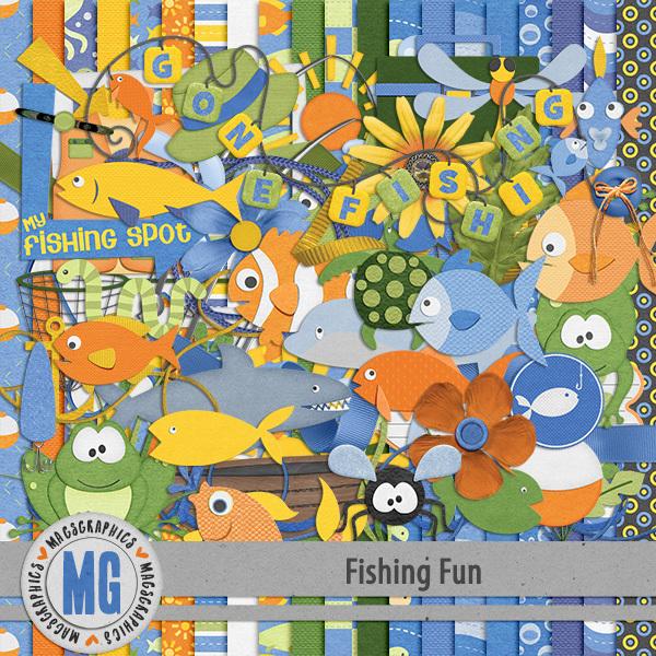 Fishing Fun Kit Digital Art - Digital Scrapbooking Kits