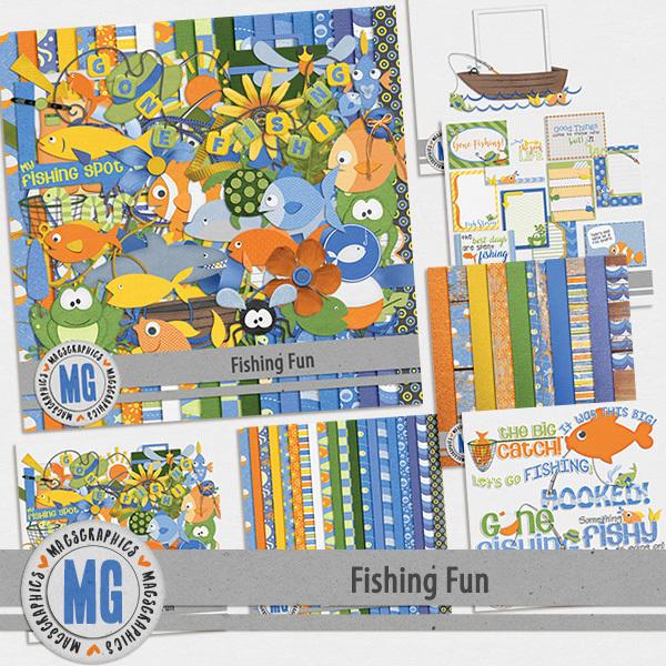 Fishing Fun Bundle Digital Art - Digital Scrapbooking Kits