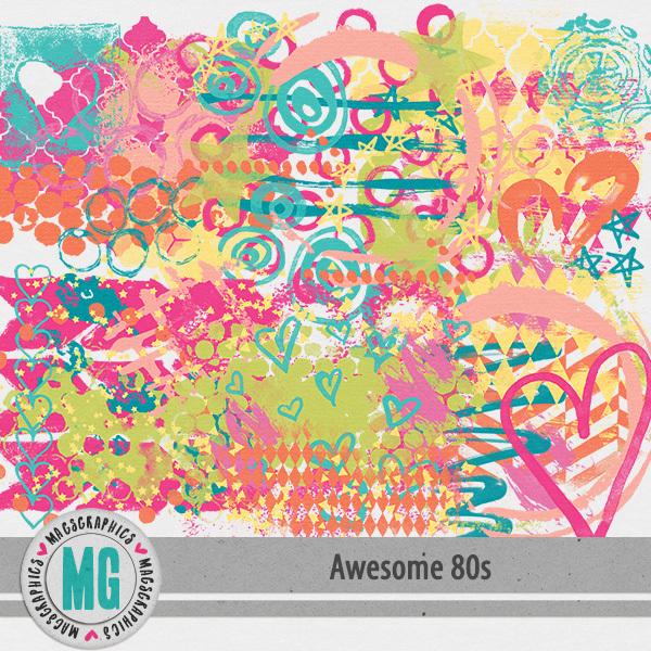 Awesome 80s Hodge Podge Masks Digital Art - Digital Scrapbooking Kits