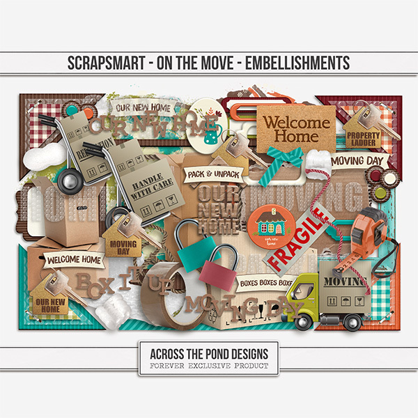 ScrapSmart - On The Move - Embellishments Digital Art - Digital Scrapbooking Kits