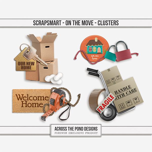 ScrapSmart - On The Move - Clusters Digital Art - Digital Scrapbooking Kits