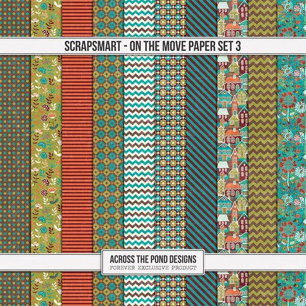 ScrapSmart - On The Move - Paper Set 3 Digital Art - Digital Scrapbooking Kits