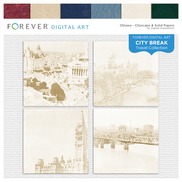 City Break - Ottawa - Cityscape & Solid Papers Digital Art - Digital Scrapbooking Kits