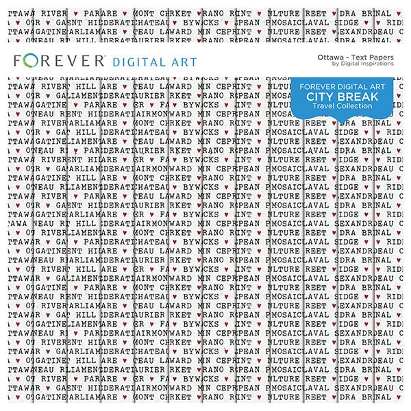 City Break - Ottawa - Text Papers Digital Art - Digital Scrapbooking Kits