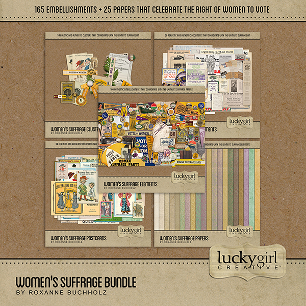 Womens Suffrage Bundle Digital Art - Digital Scrapbooking Kits
