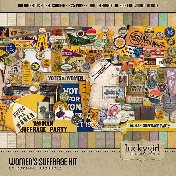 Womens Suffrage Kit Digital Art - Digital Scrapbooking Kits